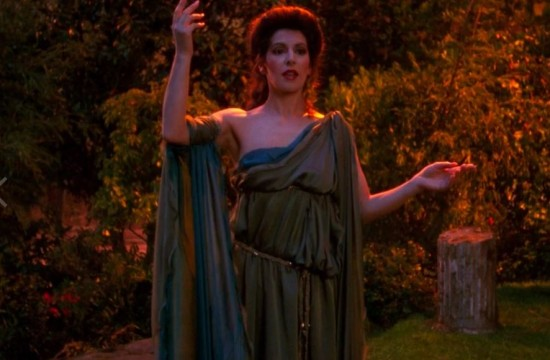 The only thing more mortifying than this image of Deanna Troi in Barclay's simulation is the idea that the real Troi eventually sees it.