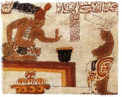 A Mayan lord forbids an individual from touching a container of chocolate.