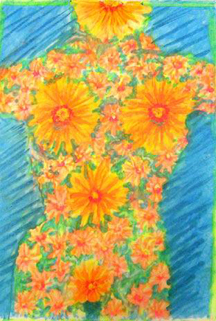 "Flower Girl. 11.5"" x 16"" crayon on paper. Megan Jz (2002)"