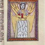 Hildegard Von Bingen (1165)[medieval artwork of a woman/angelic being with wings, holding a small group of people in her arms]