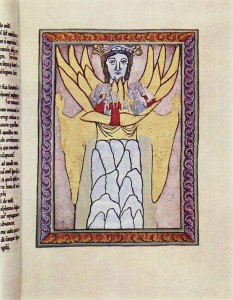 Hildegard Von Bingen (1165) [medieval artwork of a woman/angelic being with wings, holding a small group of people in her arms]