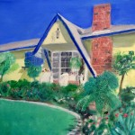 After Jim died, his widow, Teresa, had to leave the house on our street where they had lived for decades. My son Kip made this oil painting of the house for her.