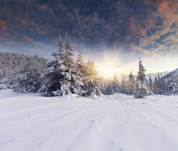 Beautiful winter landscape in the mountains. Sunrise