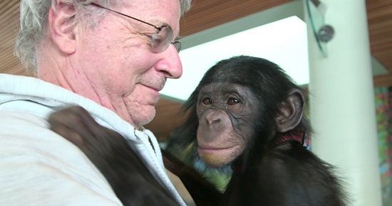 "Steven Wise with a friend, in ""Unlocking the Cage"""