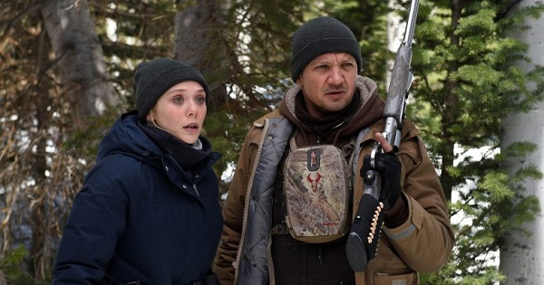 "Elizabeth Olsen and Jeremy Renner, in ""Wind River"""