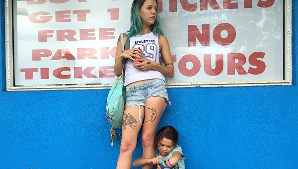 "Bria Vinaite and Brooklynn Prince, as mother and daughter in ""The Florida Project"""