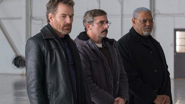 "Bryan Cranston, Steve Carell, and Laurence Fishburne, in ""Last Flag Flying"""