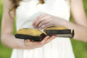 Beautiful woman with Bible