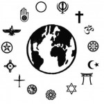 The Earth with symbols of different faiths around it