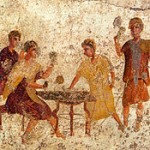Dice players at Saturnalia - wall painting in Pompeii