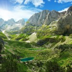 View of mountain lakes in the Albanian Alps, by Lenar Musin