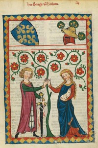 """Codex Manesse Bernger von Horheim"" by Meister des Codex Manesse (Grundstockmaler) - http://digi.ub.uni-heidelberg.de/diglit/cpg848/0351. Licensed under Public Domain via Wikimedia Commons - https://commons.wikimedia.org/wiki/File:Codex_Manesse_Bernger_von_Horheim.jpg#/media/File:Codex_Manesse_Bernger_von_Horheim.jpg"