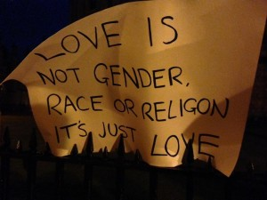 """Love is not gender, race, or religion: it's just love"". Oxford, UK vigil for Orlando. Photo by Yvonne Aburrow. CC-BY-SA 4.0"