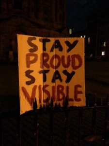"Sign: ""Stay proud. Stay visible"". Oxford, UK vigil for Orlando. Photo by Yvonne Aburrow. CC-BY-SA 4.0"