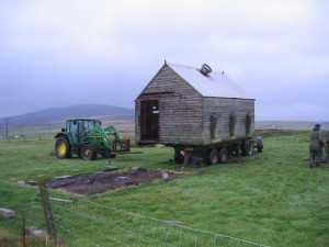Moving house A quality chicken house being uplifted to another location. At one time Orkney was a leading egg-producing region in the UK but, in 1952, a terrible hurricane devastated the industry: over 7000 henhouses were wrecked and around 86,000 hens killed. Orkney was declared a disaster zone and received government aid. Creative Commons Licence [Some Rights Reserved] © Copyright Derek Mayes and licensed for reuse under this Creative Commons Licence.