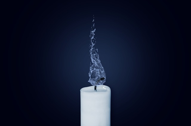 Candle flame water candlelight light burn