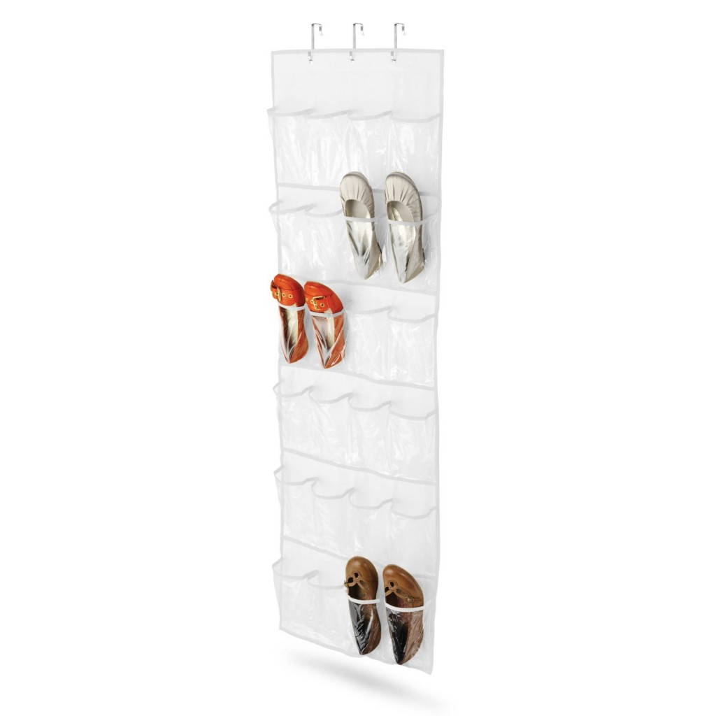 How to organize lots of shoes and water bottles plus a Over the door shoe organizer
