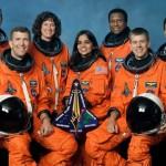 From left to right: David Brown, Rick Husband, Laurel Clark, Kalpana Chawla, Michael Anderson, William C. McCool, Ilan Ramon (NASA/JPL/Caltech)