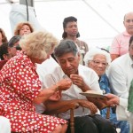 "Ethel Kennedy gives Communion to Cesar Chavez as he ends the 36 day fast that frames the documentary ""Cesar's Last Fast"""