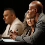 "The judges of NBC's 2014 ""Last Comic Standing"": Russell Peters, Roseann Barr, Keenan Ivory Wayans"