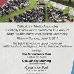"Catholics in Media to award ""The Monuments Men"", ""Cesar's Last Fast"" and ""CBS Sunday Morning"" on June 1"