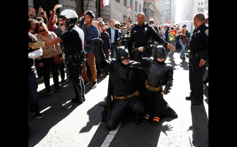 "Eric Johnston as Batman and Miles Scott as Batkid in ""Batkid Begins."" (Warner Bros. Entertainment Co.)"