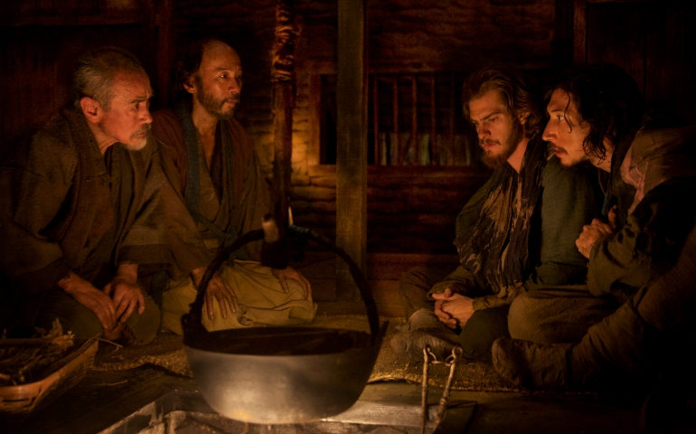 "Left to right: Yoshi Oida plays Ichizo, Shinya Tsukamoto plays Mokichi, Andrew Garfield plays Fr. Rodrigues and Adam Driver plays Fr. Garrpe in the film ""Silence"" by Paramount Pictures, SharpSword Films, and AI Films. (Kerry Brown)"