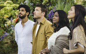 "From left, Avraham Aviv Alush, Sam Worthington, Octavia Spencer and Sumire Matsubara in ""The Shack"" (Lionsgate)"