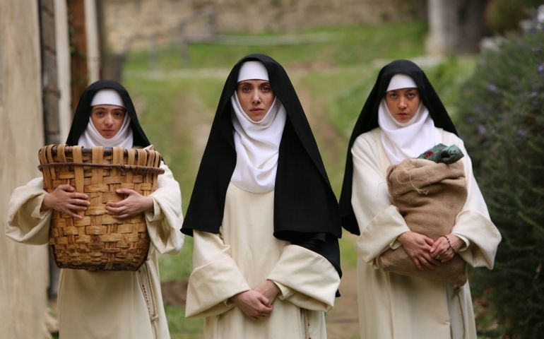 "Kate Micucci, Alison Brie and Aubrey Plaza play the three nuns who get into trouble in ""The Little Hours."" (Brigade Marketing)"