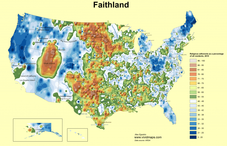 Faithland map of religious adherence in America