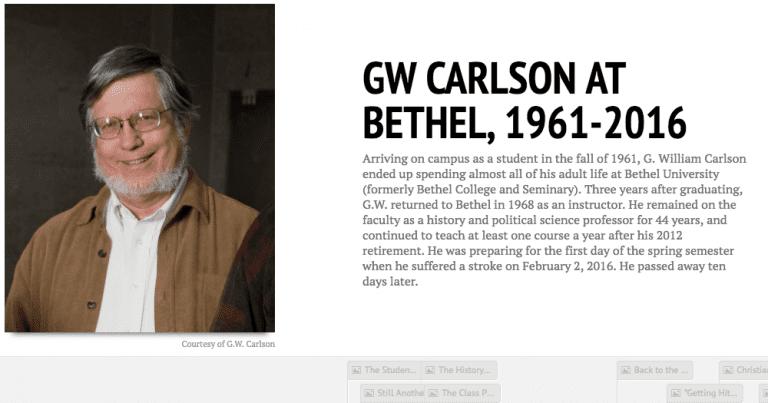 Digital timeline of G.W. Carlson's career at Bethel University