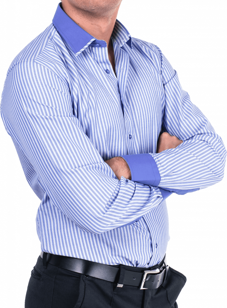 man in striped button-up shirt with top buttons undone
