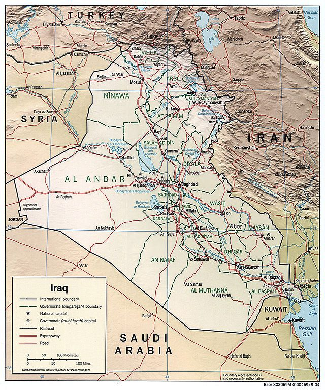 Iraq in 2004, in a CIA political map