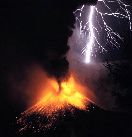 Volcanic eruption with lightning