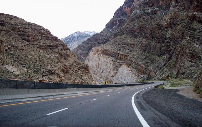 The freeway in the Virgin River Gorge