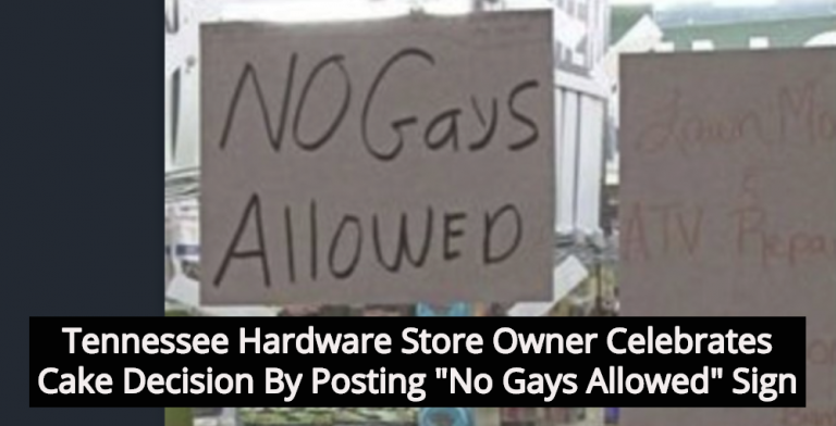 Store Owner Posts 'No Gays Allowed' Sign After Cake Decision (Image via Twitter)