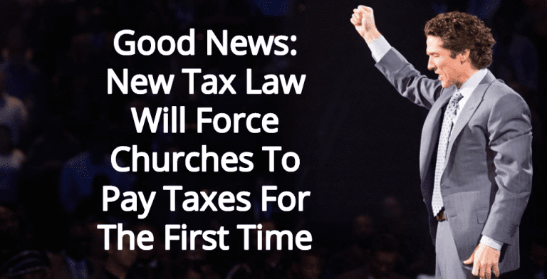 Good News: New GOP Law Is Taxing Churches (Osteen image via Facebook)