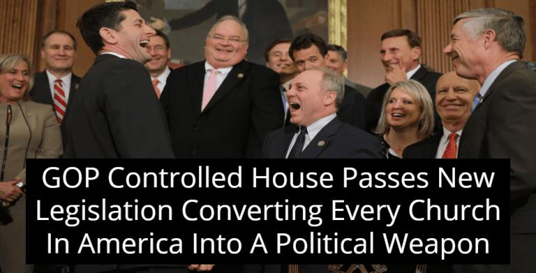House Votes To Repeal Johnson Amendment, Making Churches Super PACs  (Image via Twitter)
