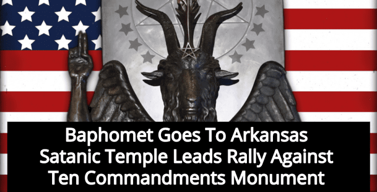 Satanic Temple Sends Baphomet To Rally Against Ten Commandments Monument (Image via Twitter)