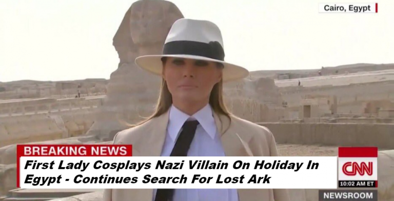 First Lady Melania Trump Cosplays Nazi Villain On Holiday In Egypt (Image via Screen Grab)