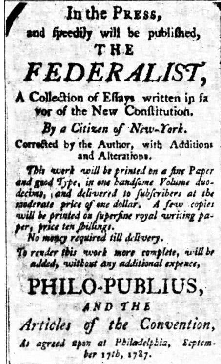 the authors of the federalist essays originally wrote them Collection of essays advocating the ratification of the u s constitution, published 1787-88 the federalist papers are considered by many to be among the founding classics of american political .