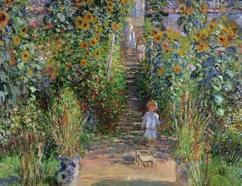 Victorian looking children on a garden path surrounded by sunflowers and hollyhocks.