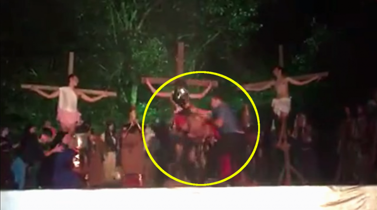 Audience member tries to rescue Jesus during Easter play