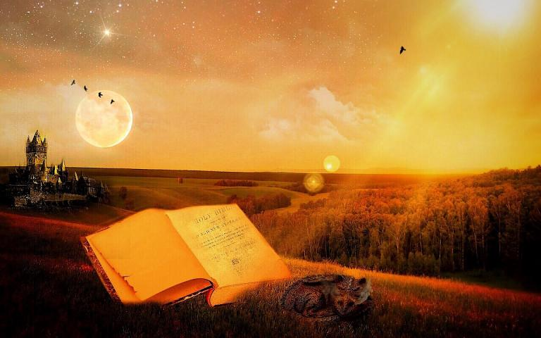 an open book spread over a sun-drenched landscape with a castle in the background