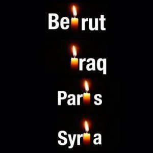 Candles burning for Beirut, Iraq, Paris, Syria
