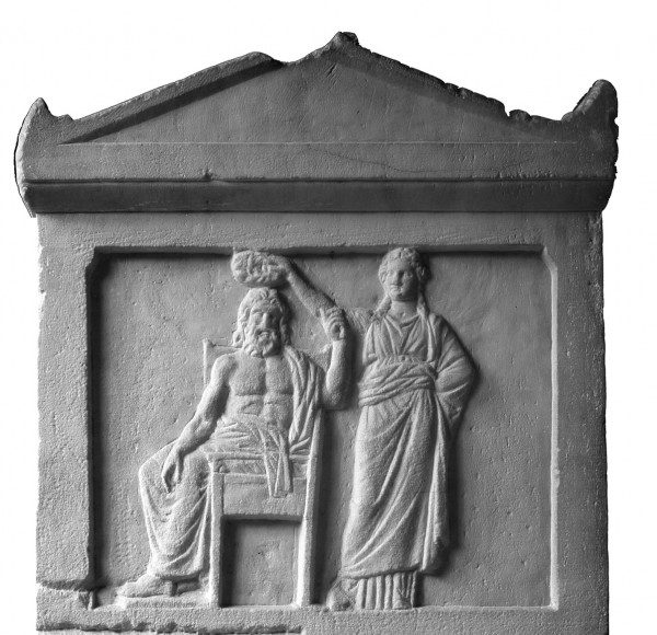 Demokratia: a woman crowning old man Demos, the people, a detail from an Athenian law sculpted in marble, 336 BCE