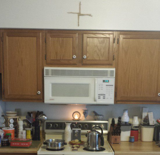Stovetop altar to Brighid, January 2015.