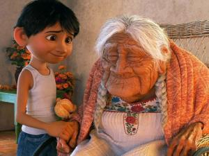 "Miguel and his great grandmother in the Pixar movie ""Coco"""