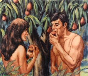 "Adam and Eve eat the ""apple."""