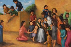 Children gather around Jesus.